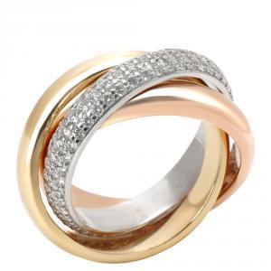 Cartier 18K Three Tone Trinity Classic Diamond Ring Size 49