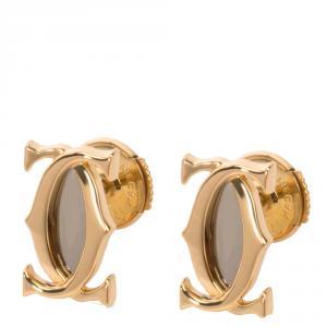 Cartier 18K Yellow Gold Double C Logo Earrings