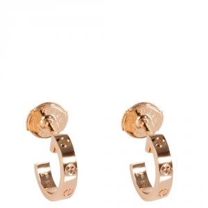 Cartier 18K Rose Gold Love Huggie Earrings