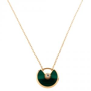 Cartier Amulette De Cartier Diamond Malachite 18K Rose Gold XS Pendant Necklace