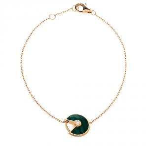 Cartier Amulette De Cartier Diamond Malachite 18K Rose Gold XS Bracelet