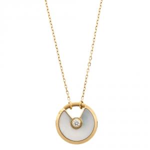 Cartier Amulette De Cartier Mother of Pearl Diamond 18K Yellow Gold Necklace