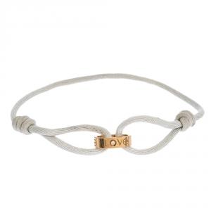 Cartier Love Diamond 18K Rose Gold White Adjustable Cord Bracelet
