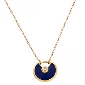 Cartier Amulette De Cartier Diamond Lapis Lazuli 18K Yellow Gold Necklace XS