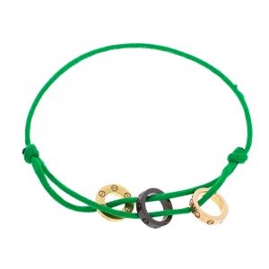 Cartier Love Diamond Ceramic Two Tone 18K Gold Green Cord Adjustable Bracelet