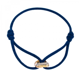 Cartier Trinity De Cartier Three Tone 18K Gold Blue Adjustable Cord Bracelet