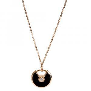 Cartier Amulette de Cartier XS 18K Rose Gold Diamond Onyx Necklace