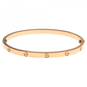 Cartier Love 18K Yellow Gold Narrow Bangle Bracelet Size 16