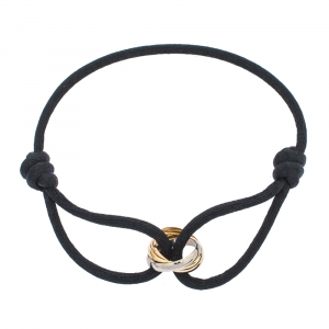 Cartier Trinity De Cartier Three Tone 18k Gold Black Adjustable Cord Bracelet