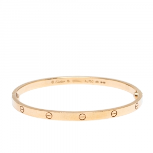 Cartier Love 18K Rose Gold Narrow Bangle Bracelet Size 16
