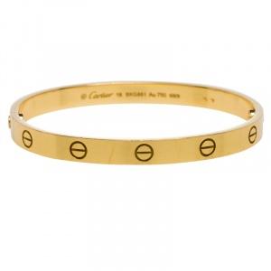 Cartier Love 18K Yellow Gold Bracelet 18