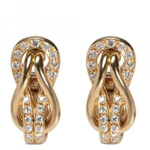 Cartier Knot Diamond 18K Yellow Gold Earrings