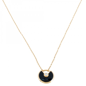 Cartier Amulette de Cartier Diamond Onyx 18K Rose Gold Necklace XS