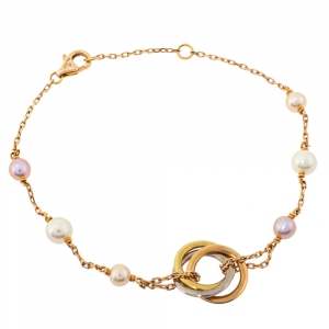 Cartier Trinity Cultured Pearl 18K Three Tone Gold Station Bracelet