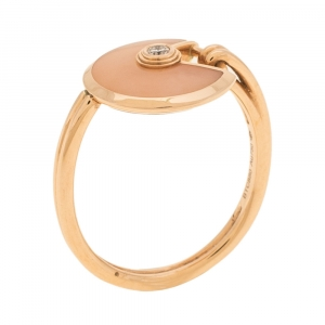Cartier Amulette de Cartier Pink Opal Diamond 18K Rose Gold Ring Size 48