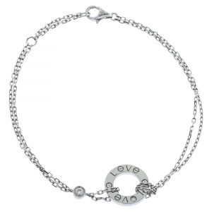 Cartier Love Diamond 18K White Gold Chain Link Bracelet