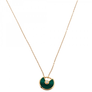 Cartier Amulette De Cartier Malachite Diamond 18K Rose Gold Necklace XS
