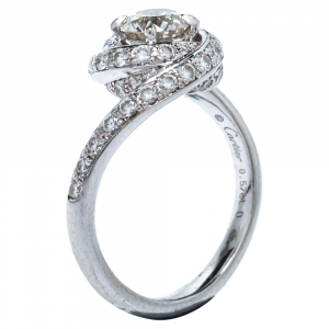 Cartier Trinity Ruban 0.57ct Solitaire Diamond Platinum Engagement Ring Size 50