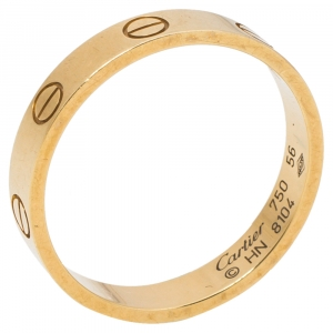 Cartier Love 18K Yellow Gold Wedding Band Ring Size 56