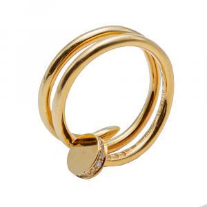 Cartier Juste un Clou Double Wrap Yellow Gold Diamond Ring Size 52