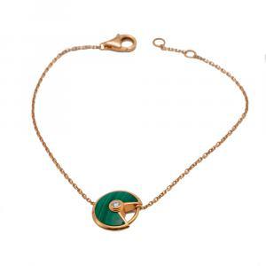 Cartier Amulette Malachite Yellow Gold Bracelet 18 CM
