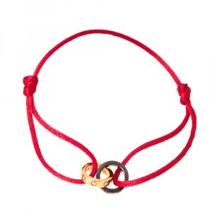 Cartier Love Diamond 18K Rose Gold & Ceramic Rings Red Cord Bracelet