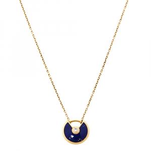 Cartier Amulette De Cartier Lapis Lazuli Diamond 18K Yellow Gold Necklace XS
