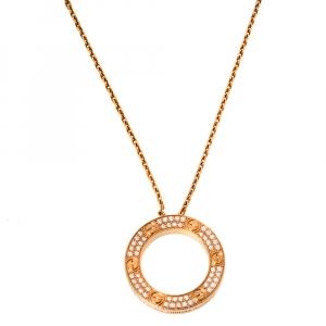 Cartier Love Diamond Paved 18K Rose Gold Necklace