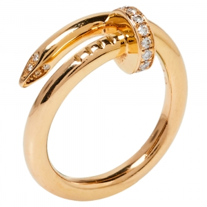 Cartier Juste Un Clou Diamond 18K Rose Gold Ring Size 53