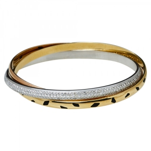 Cartier Trinity Panthere Diamond 18K Three Tone Gold Slip On Bangle