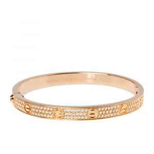 Cartier Love Diamond Paved 18K Rose Gold Bracelet 19