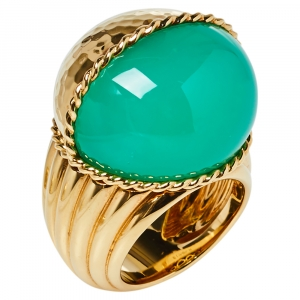Cartier Paris Nouvelle Vague Chrysoprase 18K Yellow Gold Cocktail Ring Size 54