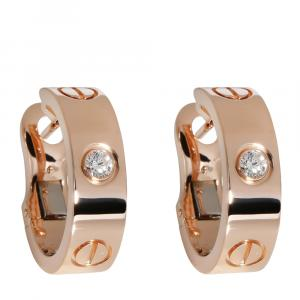 Cartier 18K Rose Gold 0.14 CTW Diamond Love Hoop Earring