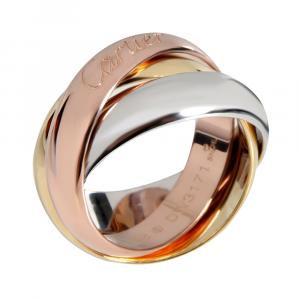 Cartier Trinity Vintage 18K Yellow Gold, Rose Gold, White Gold Ring Size EU 48