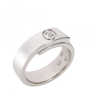 Cartier Nouvelle Vague 18K White Gold Diamond Ring Size EU 50