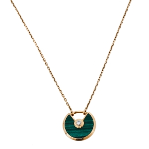 Cartier Amulette De Cartier Malachite 18K Rose Gold Pendant Necklace XS
