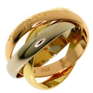 Cartier 18K Yellow Gold, Rose Gold, White Gold Trinity Ring Size 53