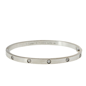 Cartier Love 10 Diamond 18K White Gold Small Model Bracelet 16