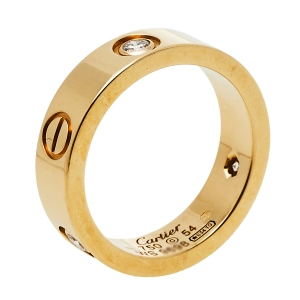 Cartier Love 3 Diamonds 18K Yellow Gold Ring Size 54