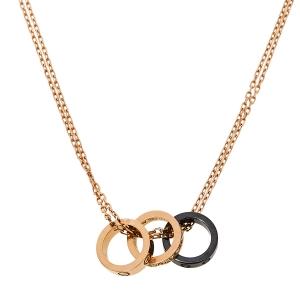 Cartier Love Ceramic Diamond 18K Rose Gold Pendant Necklace