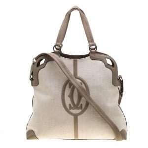 Cartier Beige Canvas and Leather Marcello de Cartier Bag