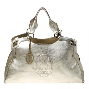 Cartier Gold Metallic Leather Large Marcello de Cartier Bag