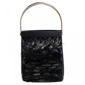 Cartier Black Satin and Feather Small Trinity Cage Bag