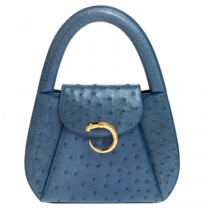 Cartier Blue Ostrich Leather Panther Logo Satchel