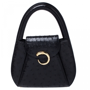 Cartier Black Ostrich Leather Panther Logo Satchel