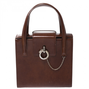 Cartier Brown Patent Leather Panthere Box Satchel