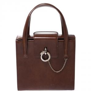 حقيبة كارتييه Panthere Box  جلد لامعة بنية
