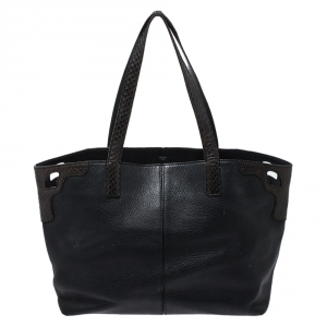 Cartier Black Leather and Snakeskin Limited Edition 'Marcello De Cartier' Tote