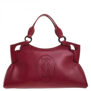 Cartier Maroon Leather Small Marcello de Cartier Bag