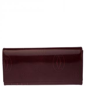 محفظة كارتييه كونتيننتال Happy Birthday جلد لامعة بنية محمرة